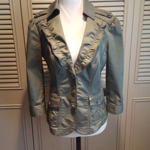 Gorgeous olive jacket with rhinestone detail.